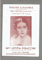 3 DOCUMENTS LETITIA ANUSCA PIRACCINI CANTATRICE ARTISTE LYRIQUE NEE EN 1898 EN ROUMANIE CONCERT 1938 ALEXANDRIE EGYPTE - Programs