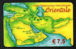 """Carte Téléphonique Internationale Orientale €7,5 """"Carte Du Moyen-Orient"""" - Altre Schede Prepagate"""