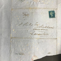 GB Victoria 1852 Wrapper To Kirkham Tied With 2d Blue Imperf - Covers & Documents