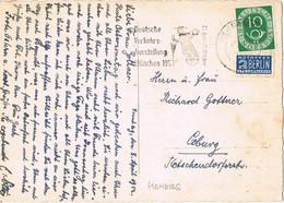 42034. Postal BAMBERG (Alemania Federal) 1953. Stamp NOTOPFER Berlin, Slogan Feria Munchen - Covers & Documents