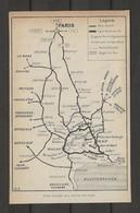 CARTE PLAN 1914 - VOIES D'ACCES Aux GORGES Du TARN - PARIS NEVERS MENDES BARCELONE - Carte Topografiche