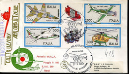 66892 Italia, Fdc 1982 Registered Costruzioni Aeronautiche, Helicopter Nardi NH500,Piaggio Aeritalia Siai - F.D.C.