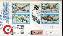 66893 Italia, Fdc 1983 Registered Gallarate, Costruzioni Aeronautiche,Helicopter A129 Agusta,aeritalia,Siai,Caproni C22J - F.D.C.