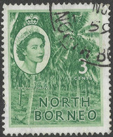 North Borneo. 1954-59 QEII. 3c Used SG 374 - North Borneo (...-1963)
