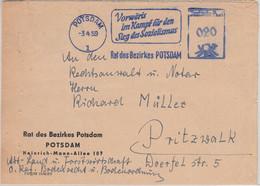 DDR - Potsdam 1959 20 Pfg. AFS Rat Des Bezirkes + Propaganda Brief N. Pritzwalk - Poststempel - Freistempel