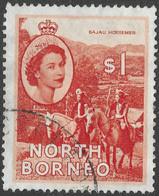 North Borneo. 1954-59 QEII. $1 Used SG 383 - Bornéo Du Nord (...-1963)