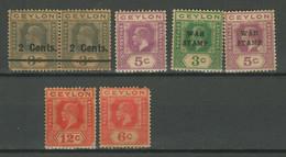Ceylon 1911/1918 ☀ MLH Lot - Ceylon (...-1947)