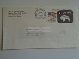 D184867  USA  Postal Stationery Cover  -  Feather River Rail Society - Portola Ca. - Marysville - Buffalo  22c  1988 - 1981-00