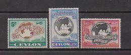 CEYLON    1949    75th  Anniv  Of  U P U    Set  Of  3    MH - Ceylon (...-1947)