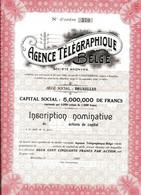 AGENCE TÉLÉGRAPHIQUE BELGE; Certificat D'inscription - Elettricità & Gas