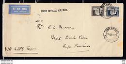Brief Van Bulawayo S.Rhodesia Naar Cape Province First Official Air Mail - Southern Rhodesia (...-1964)