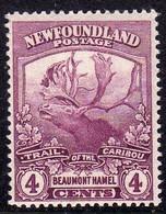 CANADA NEWFOUNDLAND 1919 CARIBOU ISSU BEAUMONT HAMEL CENT. 4c MNH - Unused Stamps