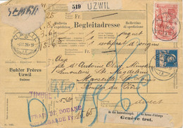 1926 MYTHEN 3f Obl UZWIL 6/9/26 BULLETIN EXPEDITION > Marseille France - DOUANE BELLEGARDE - PAQUET COLIS Lettre - Briefe U. Dokumente