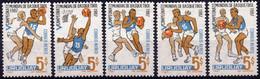 URUGUAY :1967: Y.318-22*** Postfris/neufs/MNH : WORLDCHAMPIONSHIP 1967, MONTEVIDEO,BASKET-BALL. - Pallacanestro