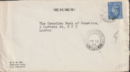 Canadian Feldpost WW2: From Great Britain - To Canadian Bank In London From  HQ Div. Engineers 5th CDN (Armd) Div - Militaria
