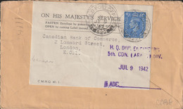 Canadian Feldpost WW2: From Great Britain - To Canadian Bank In London From  HQ Div. Engineers 5th CDN (Armd) - Militaria