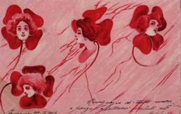 MAGNIFIQUE ILLUSTREE ART NOUVEAU : Visages De Femme Dans Des Trèfles Rouges . - Frauen