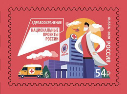 Russia 2020 Project Medicine, Health Workers , COVID -19 , 1 Stamp , Self-adh. Sheetlet - Medicina