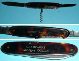 Rare Couteau Publicitaire Multifonctions, Champagne Georges COLLIN Congy Marne, Tire-bouchon - Coltelli