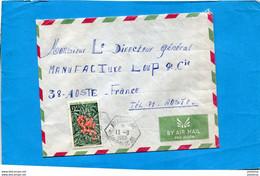 Marcophilie-Madagascar-Lettre>Françe-cad- Perlé Hexagonal-Anaborano-1969-2-stampsN°466 Recto Verso Flower - Madagascar (1960-...)