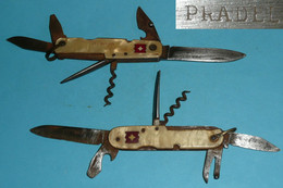 Lot 2 Anciens Couteaux Pliants Multifonctions PRADEL, Pub Perez DaCosta O PORTO - Coltelli