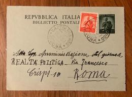 REPUBBLICA - BIGLIETTO POSTALE L. 10 +10 L. DEM. DA  CASTELBIANCO *SAVONA*  17/3/50 - Interi Postali