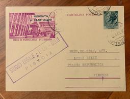 REPUBBLICA - CARTOLINE POSTALI L. 20 FIERA DI PADOVA DA  PISTOIA * SPEDIZIONI * 31/7/53 - Interi Postali