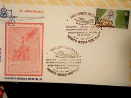 """ANNULLO SPECIALE """"ORBETELLO (GR)*24.6.1979* MOSTRA AEROFILATELICA-TARANTO ODESSA ORBETELLO-50° ANNIV. CROCIERA IG10548 - 1971-80: Storia Postale"""