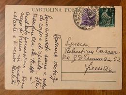 REPUBBLICA - CARTOLINE POSTALI L. 2 + L. 6 DEM. DA RAVENNA  A FIRENZE - Interi Postali