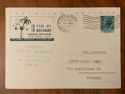 REPUBBLICA - CARTOLINE POSTALI L. 20 IX FIERA DEL MEDITERRANEO DA ALESSANDRIA 13/8/54 - Interi Postali