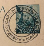 AGENZIA P.T. CAPO DI SORRENTO * NAPOLI * 13/10/53 Annullo SU CARTOLINA POSTALE CHLORODONT L. 20 - Interi Postali