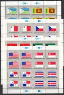 UNO NEW YORK  373-388, 4 Kleinbogen, Postfrisch **, Flaggen Der UNO-Mitgliedstaaten (II) 1981 - Blocks & Kleinbögen
