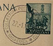 COLLETTORIA POSTALE TESTA DELL'ACQUA NOTO *SIRACUSA*22/11/51  Annullo SU CARTOLINA POSTALE CHLORODONT L. 20 - Interi Postali
