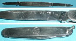 Ancien Petit Couteau Publicitaire En Métal, Air France, Inox, Lime, Hippocampe - Altri