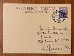 VAGLIA * (26-220)  17/1/48 Annullo Colore Blu SU CARTOLINA POSTALE L.8 - Interi Postali