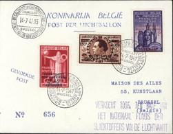 Belgique 3e Salon De L'aéronautique Bruxelles 14 7 47 Post Per Luftballon Courrier Spécial Par Ballon Monté - Luchtpost