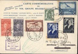 Belgique Carte Commémorative Du 1er Vol Groupe Belgique Congo Par Avion Phalène YT Poste Aérienne 283 456 457 - Luchtpost