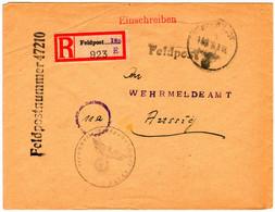 Feldpostbrief Per Einschreiben - Feldpostnummer 47210 Aus Dem Jahr 1944. - Seconda Guerra Mondiale
