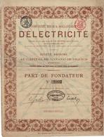 Titre Ancien - Belge & Hollandaise D'Electricité - Titre De 1881 - - Elettricità & Gas