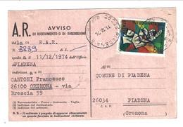 AVVISO DI RICEVIMENTO Mod. 23-I 1974 Da Piadena Per Cremona, Giornata Del Francobollo Isolato - 1971-80: Storia Postale