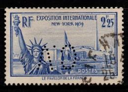 Q030B - FRANCE - 1939 - YV#: 426 - USED - INTERNATIONAL EXPOSITION NEW YORK - PERFIN - Oblitérés