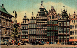 (5 A 12) Older Belgium Postcard - Anvers Grand Place & Brabo Monument (posted 1957) - Monumenti