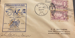 O) 1936 UNITED STATES, USA, SAM HOUSTON, STEPHEN F. AUSTIN AND THE ALAMO, TEXAS INDEPENDENCE, PAN AMERICAN DAY, FDC F. - 1851-1940