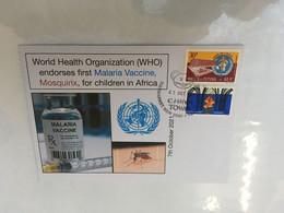 (5 A 14) (Australia) 1st Malaria Vaccine Endorses By WHO - Mosquirix Vaccine - 7 October 2021 - WHO Wallis & OZ Stamp - Medicina