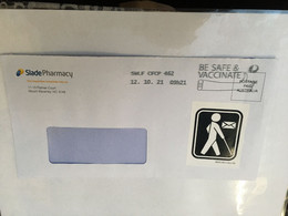 """(5 A 14) Australia Post COVID-19 Vaccination Slogan (on Letter Posted With """"Blind Mail"""" Sticker) Unusual - Disease"""
