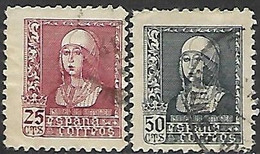 Spain  1938   Sc#673 25c & #676 50c  Used   2016 Scott Value $3.10 - 1931-50 Usati