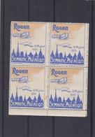 VIGNETTE ROUEN 19/26 Juin 1910 ,semaine De L'aviation , Bleue Et Orange ,neuf Avec Gomme - Aviation