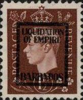 BARBADOS 1940s WWII George VI 1½d FORGERY:overprint Germany-related Faux De Propagande Propaganda - Barbados (...-1966)