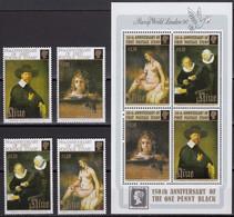 NIUE 1990 150th Anniversary Of Penny Black, Set Of 4 & $6 M/S MNH - Niue