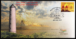 India 2021 Special Cover - Hajira Lighthouse, Gujarat, Ship, Phare, Pictorial, Inde, Indien - Phares
